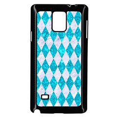 Diamond1 White Marble & Turquoise Marble Samsung Galaxy Note 4 Case (black) by trendistuff