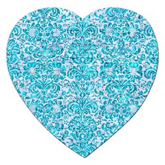 Damask2 White Marble & Turquoise Marble (r) Jigsaw Puzzle (heart) by trendistuff