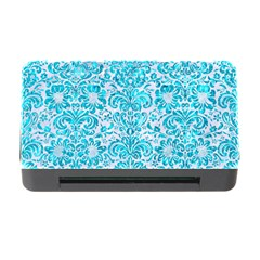 Damask2 White Marble & Turquoise Marble (r) Memory Card Reader With Cf