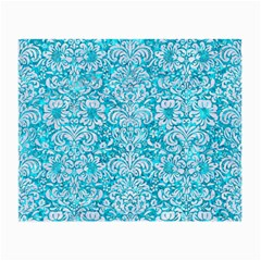 Damask2 White Marble & Turquoise Marble Small Glasses Cloth by trendistuff