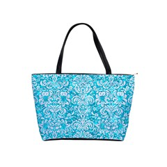 Damask2 White Marble & Turquoise Marble Shoulder Handbags