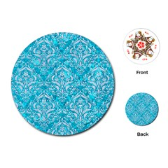Damask1 White Marble & Turquoise Marble Playing Cards (round)  by trendistuff