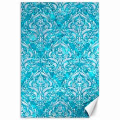 Damask1 White Marble & Turquoise Marble Canvas 20  X 30   by trendistuff