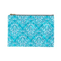 Damask1 White Marble & Turquoise Marble Cosmetic Bag (large)  by trendistuff
