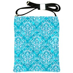 Damask1 White Marble & Turquoise Marble Shoulder Sling Bags by trendistuff