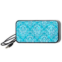 Damask1 White Marble & Turquoise Marble Portable Speaker by trendistuff