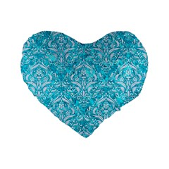 Damask1 White Marble & Turquoise Marble Standard 16  Premium Heart Shape Cushions by trendistuff