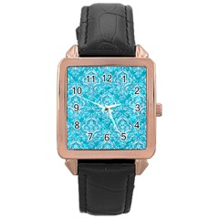 Damask1 White Marble & Turquoise Marble Rose Gold Leather Watch  by trendistuff