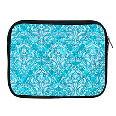 Damask1 White Marble & Turquoise Marble Apple Ipad 2/3/4 Zipper Cases by trendistuff