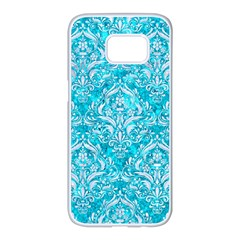 Damask1 White Marble & Turquoise Marble Samsung Galaxy S7 Edge White Seamless Case by trendistuff