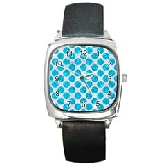 Circles2 White Marble & Turquoise Marble (r) Square Metal Watch by trendistuff