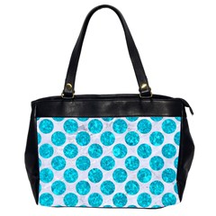 Circles2 White Marble & Turquoise Marble (r) Office Handbags (2 Sides)  by trendistuff