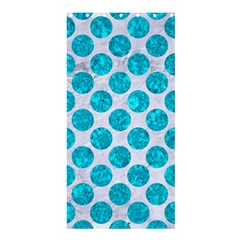 Circles2 White Marble & Turquoise Marble (r) Shower Curtain 36  X 72  (stall)  by trendistuff