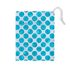 Circles2 White Marble & Turquoise Marble (r) Drawstring Pouches (large)  by trendistuff