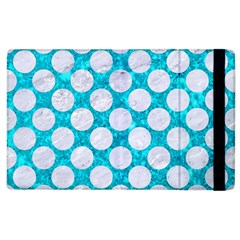 Circles2 White Marble & Turquoise Marble Apple Ipad 3/4 Flip Case by trendistuff
