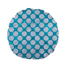 Circles2 White Marble & Turquoise Marble Standard 15  Premium Flano Round Cushions by trendistuff