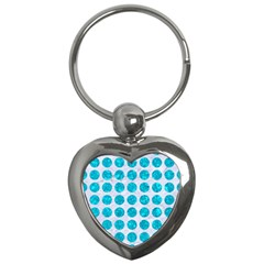 Circles1 White Marble & Turquoise Marble (r) Key Chains (heart)  by trendistuff