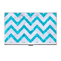 Chevron9 White Marble & Turquoise Marble (r) Business Card Holders by trendistuff