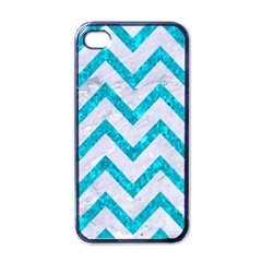Chevron9 White Marble & Turquoise Marble (r) Apple Iphone 4 Case (black) by trendistuff