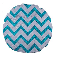 Chevron9 White Marble & Turquoise Marble (r) Large 18  Premium Round Cushions by trendistuff