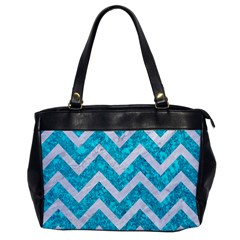 Chevron9 White Marble & Turquoise Marble Office Handbags by trendistuff