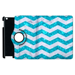 Chevron3 White Marble & Turquoise Marble Apple Ipad 2 Flip 360 Case by trendistuff