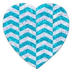 Chevron2 White Marble & Turquoise Marble Jigsaw Puzzle (heart)