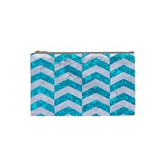 Chevron2 White Marble & Turquoise Marble Cosmetic Bag (small)  by trendistuff