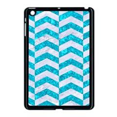 Chevron2 White Marble & Turquoise Marble Apple Ipad Mini Case (black) by trendistuff