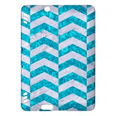Chevron2 White Marble & Turquoise Marble Kindle Fire Hdx Hardshell Case by trendistuff