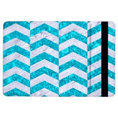 Chevron2 White Marble & Turquoise Marble Ipad Air 2 Flip by trendistuff