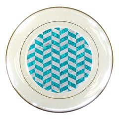 Chevron1 White Marble & Turquoise Marble Porcelain Plates by trendistuff