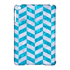 Chevron1 White Marble & Turquoise Marble Apple Ipad Mini Hardshell Case (compatible With Smart Cover) by trendistuff