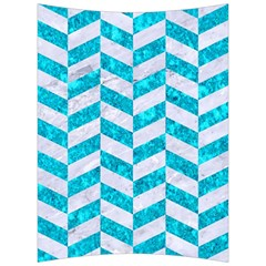 Chevron1 White Marble & Turquoise Marble Back Support Cushion by trendistuff
