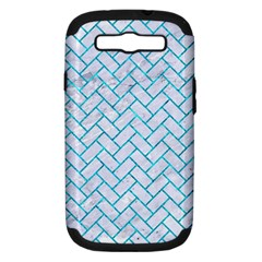 Brick2 White Marble & Turquoise Marble (r) Samsung Galaxy S Iii Hardshell Case (pc+silicone) by trendistuff