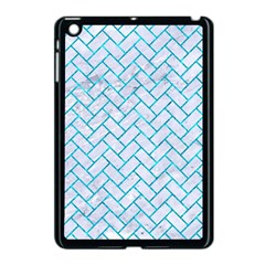 Brick2 White Marble & Turquoise Marble (r) Apple Ipad Mini Case (black) by trendistuff