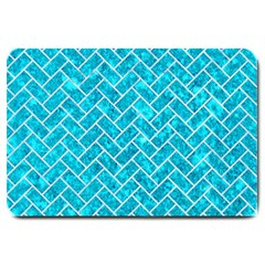 Brick2 White Marble & Turquoise Marble Large Doormat  by trendistuff
