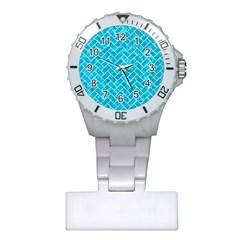Brick2 White Marble & Turquoise Marble Plastic Nurses Watch by trendistuff