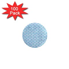 Brick1 White Marble & Turquoise Marble (r) 1  Mini Magnets (100 Pack)  by trendistuff