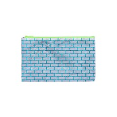 Brick1 White Marble & Turquoise Marble (r) Cosmetic Bag (xs) by trendistuff