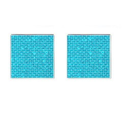 Brick1 White Marble & Turquoise Marble Cufflinks (square) by trendistuff