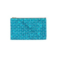 Brick1 White Marble & Turquoise Marble Cosmetic Bag (small)  by trendistuff