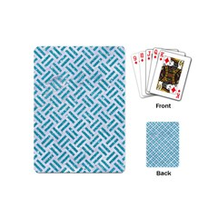 Woven2 White Marble & Turquoise Glitter (r) Playing Cards (mini)  by trendistuff