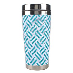 Woven2 White Marble & Turquoise Glitter (r) Stainless Steel Travel Tumblers by trendistuff