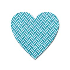Woven2 White Marble & Turquoise Glitter Heart Magnet by trendistuff
