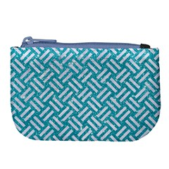 Woven2 White Marble & Turquoise Glitter Large Coin Purse by trendistuff