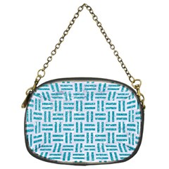 Woven1 White Marble & Turquoise Glitter (r) Chain Purses (one Side)  by trendistuff