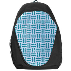 Woven1 White Marble & Turquoise Glitter (r) Backpack Bag by trendistuff