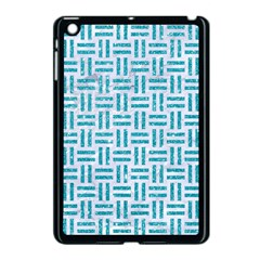 Woven1 White Marble & Turquoise Glitter (r) Apple Ipad Mini Case (black) by trendistuff
