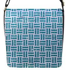 Woven1 White Marble & Turquoise Glitter (r) Flap Messenger Bag (s) by trendistuff